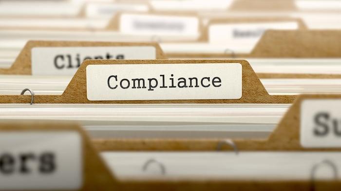 Compliance Concept. Word on Folder Register of Card Index. Selective Focus.-1