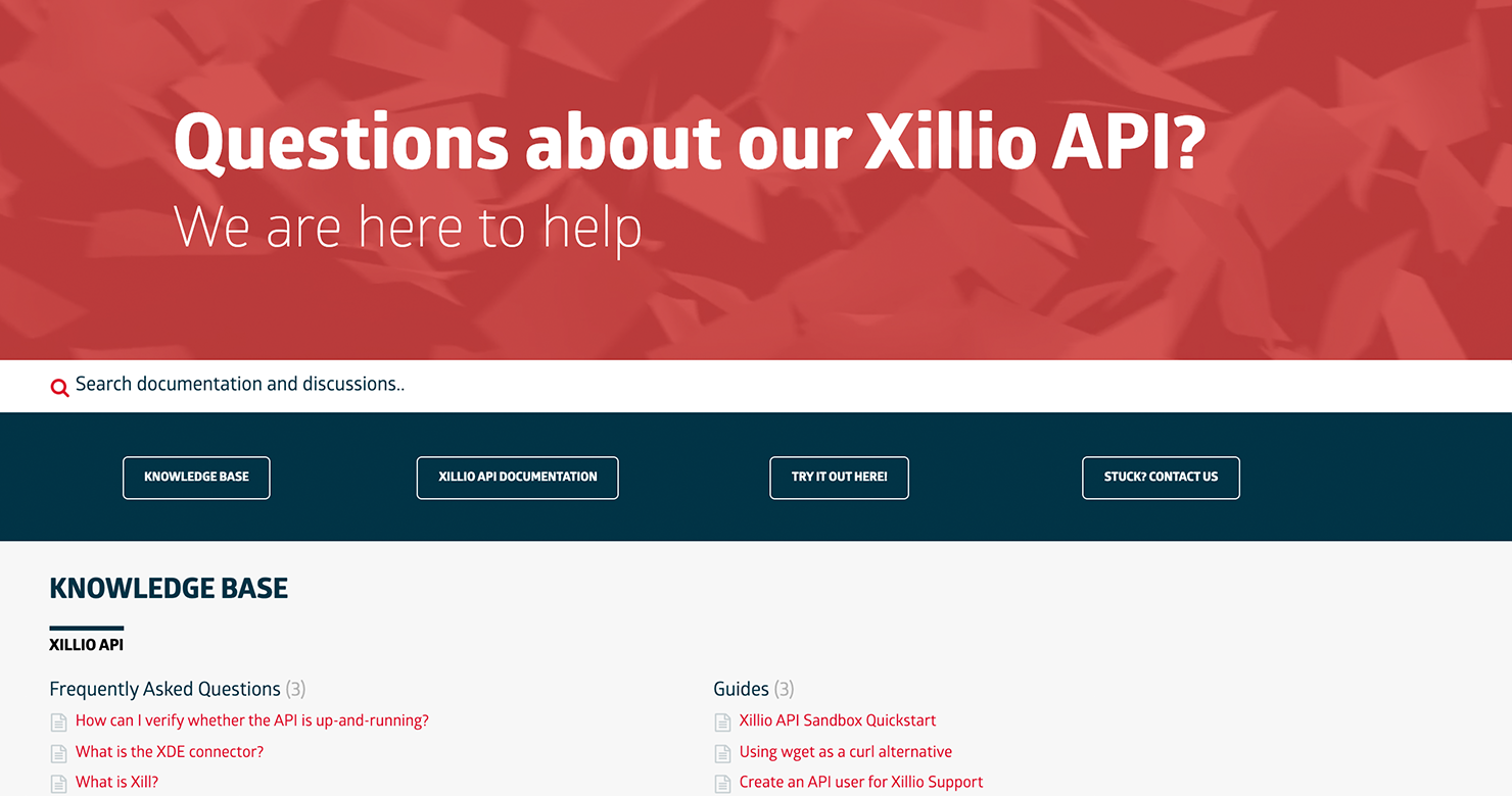 Support site for Xillio API