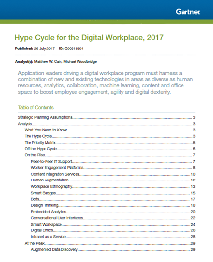 Gartner Hype Cycle Digital Workplace Xillio